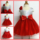 White Reds Christmas Wedding Flower Girls Party Dresses SIZE 0-3-6-9-12-24Month
