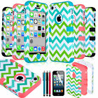 Colorful Cute Chevron Shockproof Hybrid Hard Rubber Case For iPhone 5C +Stylus