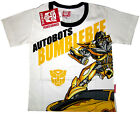 TRANSFORMERS BUMBLEBEE Boys white cotton summer t-shirt S-XL Age 3-8yr Free Ship