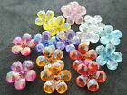 21mm 20/40pcs CLEAR FACETED ACRYLIC LUCITE PLASTIC FLOWER AB BEADS JU0516