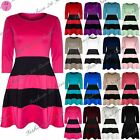 Womens Ladies Black Block Stripe Panel 3/4 Sleeve  Flared Skater Dress Plus Size