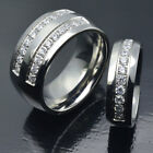 HIS HERS Mens womens STAINLESS STEEL WEDDING ENGAGEMENT RING BAND SET R178