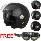 VCAN V582 Open Face Scooter Bicycle Motorcycle Motorbike Crash Helmet Gloss BLK