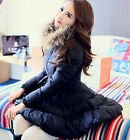women's Feather Down coat parka navy long A-lined Slim Fur party Chirstmas S-XL