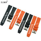 22mm NEW Black Orange Diver Rubber Curved end Watch Band Strap & Buckle FOR OME~