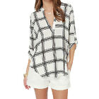 New Fashion Women Tops Loose Plaids Sexy Deep V Neck 3/4 Sleeve Chiffon Blouse