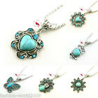 Lady Charm Necklace Jewelry Turquoise Crystal Pendant Silver Chain Retro Stone