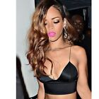 Women Satin Lace Triangle Crop Bralet Bustier Bra Black White Tops Dress 35DI