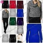 Womens Ladies Chunky Knit Cowl Off Shoulder Bardot Frill Oversize Sweater Jumper