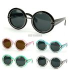 K0E1 Retro Style Classic Tea Shade Round Multi Color Crystal Jelly Sunglasses