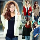Women Knitwear Thick Fleece Winter Loose Hooded Cardigan Coat Sweater Lined Tops