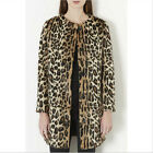 Winter Woman Leopard Faux Fur Round Neck Thicken Overcoat Long Coat Outerwear