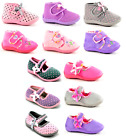 Girls Pink Ballerina Mary Jane Polka Dot Flower Bootie Snuggle Slippers Sz 3-10