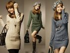 Warm Winter HOT Womens Long Sleeve Knit Slim Plus Size Tunic Sweater Dress