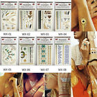 1Sheet  NICE Gold/Silver/Black Tattoos Temporary Metallic Tattoo Flash Inspired