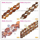Fashional Flat Smooth Oval Wood Texture Agate Jewelery Making Beads Strand 15""