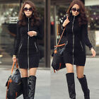 Women One Piece Black Slim Zipper Up Long Sleeve Bodycon Mini Dress Applied