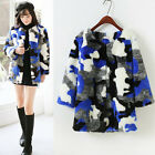 Winter Woman Color Blocking Faux Fur Camouflage Coats Casual Outwear Overcoat