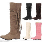 Ladies Faux Suede Flats Mid Calf Womens Winter Shoes Vintage Tassel Boots Size