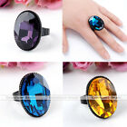 1PC Faceted Oval Crystal Glass Black Charm Lady Finger Ring US7 Adjustable Gift