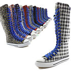 Woman Canvas Mid Calf Tall Boots Casual Sneaker Punk Flat Royal Blue Shoelace