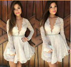 DA145 Sexy Womens Long Sleeve Evening Prom Party Deep V Neck Lace Hollow Dress