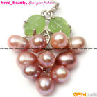 Jewelry 5-6mmx7-8mm Freshwater Pearl White Gold Plated Grape Frame Pendant