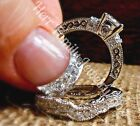925 Sterling Silver 14k White Gold Round Diamond cut Engagement Ring Wedding Set