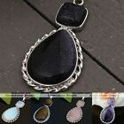 Gemstone Crystal Inlaid Teardrop Flower Reiki Healing Pendant Beads Fit Necklace