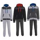 Mens Fleece Zip Plain jogging suit Full Tracksuit Hooded Bottoms Top S M L XL 2X