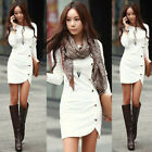 White Women's Bandage Bodycon Long Sleeve Evening Sexy Party Cocktail Mini Dress