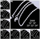 FREE P&P Solid Silver Chain Ladies/Mens s925 Silver Necklace 1-4mm 16-24inch