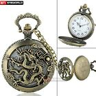 Antique Hollow Bronze Animals Pattern Quartz Pocket Watch Necklace Chain Gift