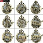 Kyпить Antique Bronze Animal Pattern Hollow Pocket Watch Quartz Necklace Chain Gift New на еВаy.соm