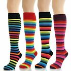 Womens Ladies Girls Knee High Thin Multi Colour Striped Socks Lot New