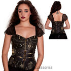 RKP33 Hell Bunny Pentagram Corset Halloween Gothic Steampunk Rockabilly Top