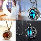 New  Moon Blue/coffee Crystal Sweater Chain Ajustable Charm Necklace