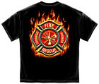 New Black T-Shirt with Flaming Maltese Cross Fire Department Firefighter Design