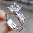 Round Pink Sapphire Cz Sterling Silver Gold Plated Wedding Engagement Ring Set