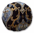 Mc14n Light Blue Plated Gold Light Grey Black Velvet Style Round Cushion Cover
