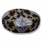 Mc14r Light Blue Plated Gold Light Grey Black Velvet Style 3DRound Cushion Cover