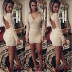 Chic Womens Backless Bandage Lace Evening Party Sexy Cocktail Bodycon Dress - CB