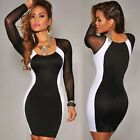 Fashion Womens Slim Fit Bodycon Long Sleeve Cocktail Party Dress Clubwear New Q
