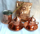 Turkish Coffee Set PURE Copper- Porcelain Cups Cezve Handhammered Coffee -M03