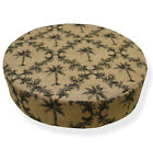 Ng11r Light Brown Deep Green Light Sand Brown Thick Linen 3D Round Cushion Cover