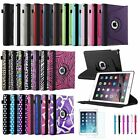 Rotating Leather Stand Case Smart Cover/Film/Stylus for 2014 Apple iPad Air 2