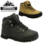 MENS LEATHER GROUNDWORK SAFETY WORK BOOTS STEEL TOE CAP SHOES TRAINER HIKER SIZE