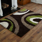 NEW 5cm HIGH PILE NON SHED LARGE MEDIUM SMALL CHOCOLATE GREEN BEIGE SHAGGY RUGS