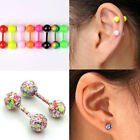 2PCS Stainless Steel Ball  Studs Cartilage Tragus Barbell Bar Earring Piercing