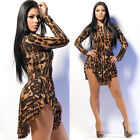 Sexy Women Leopard Print Slim Cocktail Bodycon Bandage Clubwear Evening Dress